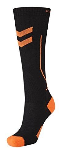 Hummel Kinder Compression Socks, Mehrfarbig (Black/Shocking Orange), 32 - 28 cm (Herstellergröße: 2)