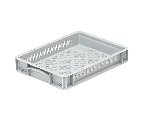 DIE BOX FABRIK Eurobehälter 400x300x70mm | perforierte Box | Aufbewahrungsbox mit Deckel | Kunststoff Kisten | Lagerbehälter mit Griffen | robuste Stapelbox | Eurokiste | Mehrwegbehälter