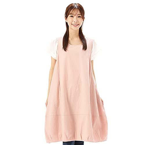 NISHIKI[ニシキ] チュニックエプロン 綿100% 肌に優しい ゆったり ロング丈 レディース ポケット付き バルーンワンピ−スエプロン (ピンク)