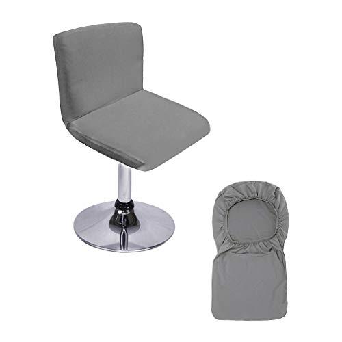 BTSKY Barhocker Schonbezüge mit Rückenlehnenbezug Stretch Stuhlbezug für Kurze Drehstuhlrücken Stuhl Barhocker Stuhl Grau