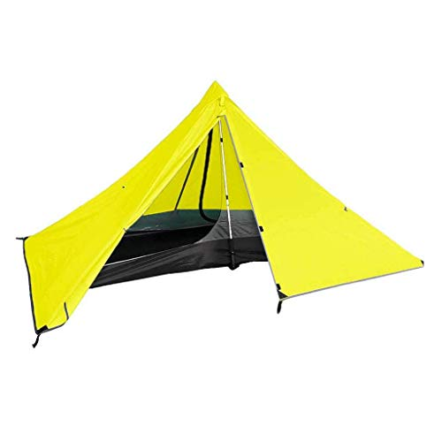 HUIYAN Camping Tents, Single Triangle camping tent | outdoor double waterproof lightweight portable pyramid tents | for outdoor camping, 3 colors (Color : Yellow)