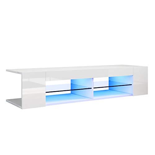 SONNI Mueble TV Blanco Brillo,Mesa para TV de Salón con LED 135x39x30cm