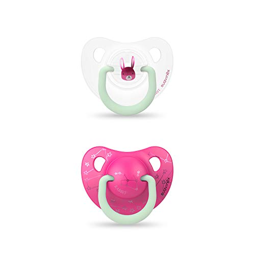 Suavinex - Pack 2 Chupetes Nocturnos para bebés 0-6 meses Con Anilla Luminiscente Tetina Anatómica de Silicona Brilla en la Oscuridad, Rosa