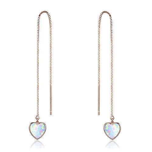 c11291d8604fe Valentine Gift Heart Threader Earrings Opal Threader Earrings Long chain  18K Rose Gold Plated Sterling Silver