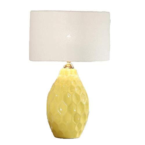 CHNOI Lámpara de Mesa Lámpara de Mesa de cerámica, Cuerpo de lámpara Pintado Vintage, Pantalla Plisada, Lámpara de Mesa de iluminación de lámpara de jardín de Villa