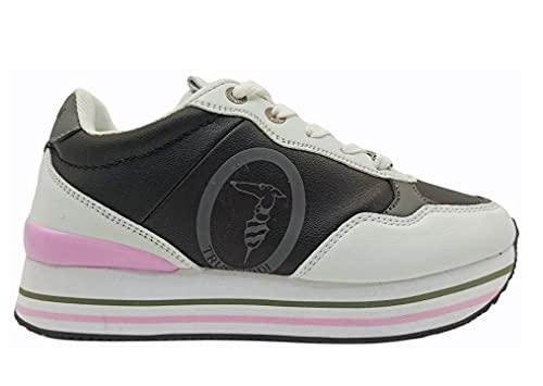 Scarpe da Donna Trussardi 79A00706 Sneakers Casual Sportive Basse Moda Platform (Bianco Nero, Numeric_37)