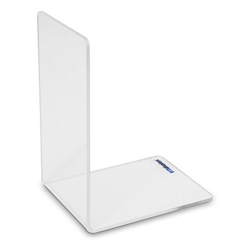 Boekensteun/hoek-boekenhouder van origineel plexiglas (9 x 12 x 16 cm) boekenhoek met afgeronde hoeken, glashelder