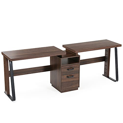 Tribesigns 94.5 inch Two Person Desk, Double Computer Desk with Storage Shelves, Extra Long Workstation Large Office Desk with Two Drawers, Study Desk Writing Table for Home Office