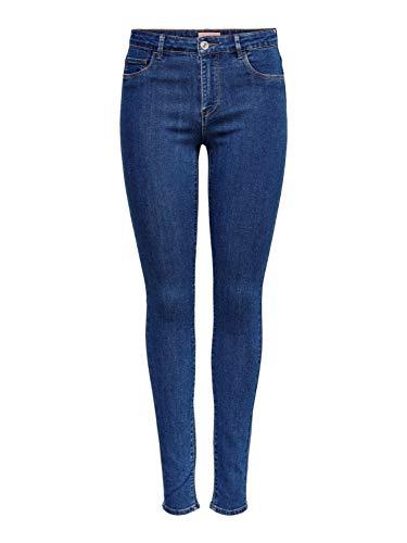ONLY Damen Jeans-Hose onlRain Regular Leibhöhe Skinny blau 15195834, Farbe:Blau, Damenjeans Test:S - Länge 32
