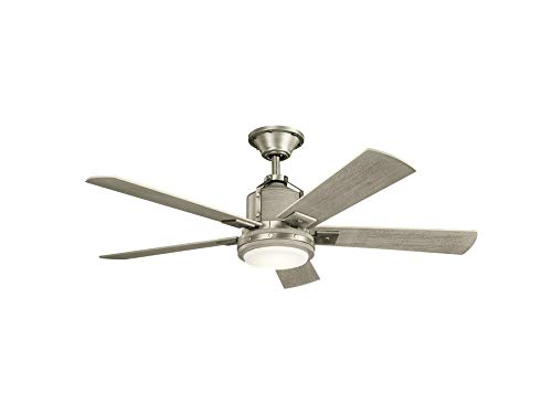 """Kichler 300052NI Colerne 52"""" Ceiling Fan with LED Lights and Wall Control, Brushed Nickel"""