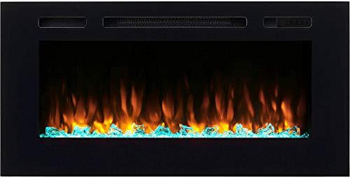 """RICHEN Elektrokamin Fiamma - Elektrischer Einbaukamin (103 cm / 40\"""") Mit Heizung, LED-Beleuchtung, 3D-Flammeneffekt & Fernbedienung - Elektrischer Kamin Schwarz"""