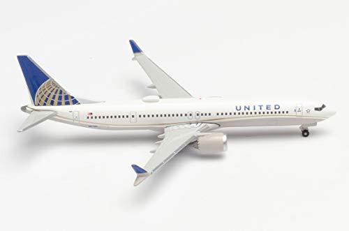 Herpa- Boeing 737 Max 9 Miniatura di United Airlines per la Collezione di imbarcazioni e Come Regalo, 533416