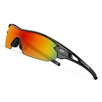 TOREGE Tr90 Flexible Kids Sports Sunglasses Polarized Glasses for Junior Boys Girls Age 3-12 TR04 (Black&Black&Red Lens)