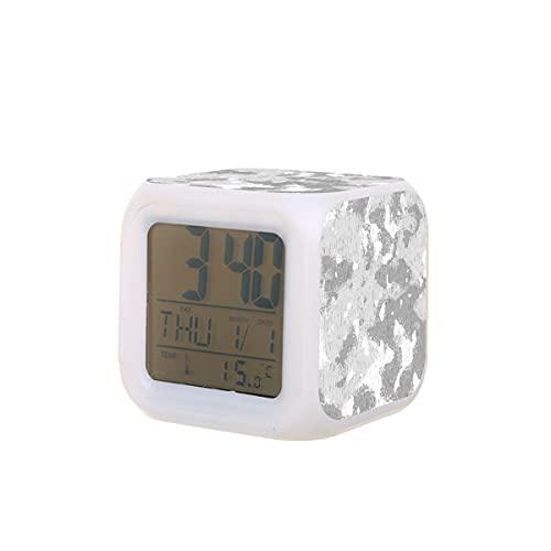 Mini despertador digital para niños y adultos, fondo gris moteado y salpicado de luz colorida, reloj despertador, mesita de noche, decoración de habitación, regalo para dormitorio, escuela, of