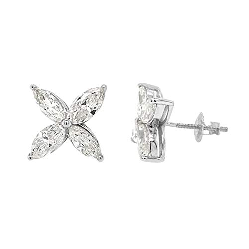 TJC 14ct White Gold White Diamond I1-I2/G-H Stud Earrings for Women IGI Certified Christmas/New Year Gift for Her, TCW 2.12ct.