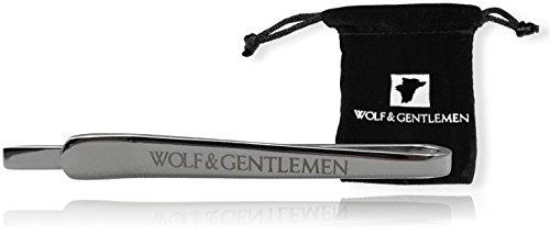Wolf & Gentlemen Clip de corbata tiepin Modelo Silver + Noble bolsa de terciopelo + donación a caridad