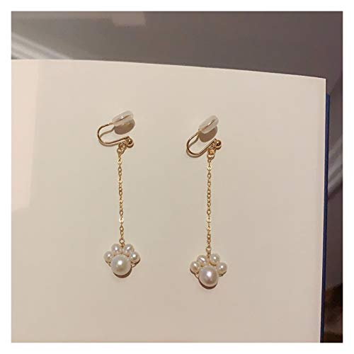 Xiaokeai Ear Stud Jewelry Cute Cat Claw Natural Pearl 14K Gold Earrings Earrings Long Girl Ear Clip Variety of Options Fashion Jewelry (Color : C)