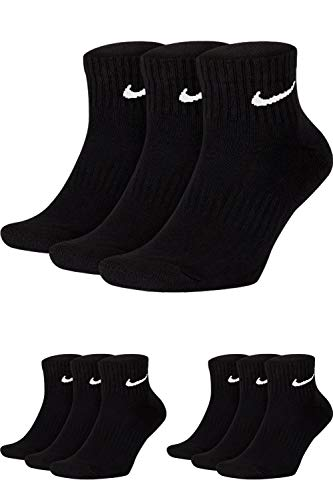 Nike Socken Damen Herren Weiß Schwarz Kurz Sportsocken Größe 34 36 38 40 42 44 46 48 50 Sparset SX7677, Sockengröße:46-50, Sockenfarbe:9 Paar schwarz