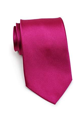 Parsley einfarbige Seiden-Krawatte in diversen Farben, 8,5cm breite hochwertige Krawatte (Magenta)