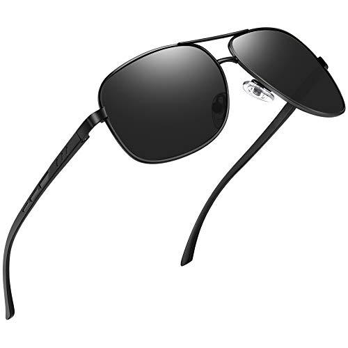 Joopin Gafas de Sol Hombre Polarizadas Aviador UV400 Protección Clásicas Cuadradas Retro para Conducir y Deportes al Aire Libre Negras