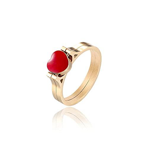 Doble melocotón corazón transferencia oro rosa anillo doble acero inoxidable amor pareja anillo, 8, zinc,