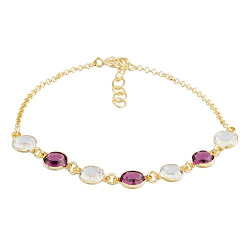 Córdoba Jewels | Pulsera en Plata de Ley 925 bañada en Oro con Cristales by Swarovski con diseño Amatista Swarovski Gold
