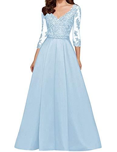 HUINI Vestido de Noche Vestidos de Boda Vintage con Cuello en V Traje de Ceremonia Vestidos de Fiesta de Encaje Azul Claro 32