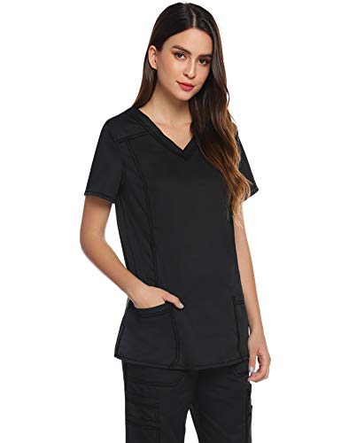Aibrou Damen Medizinisch Anzug Uniform Top Schlupfkasack Schrubb Kleidung Laborkleidung Schlupfjacke Krankenschwester Krankenhaus Berufskleidung