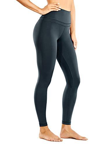 CRZ YOGA Mujer Naked Feeling Deportivos 7/8 Leggings Yoga Fitness Pantalon de Cintura Alta con Bolsillos-63cm Melanita 42