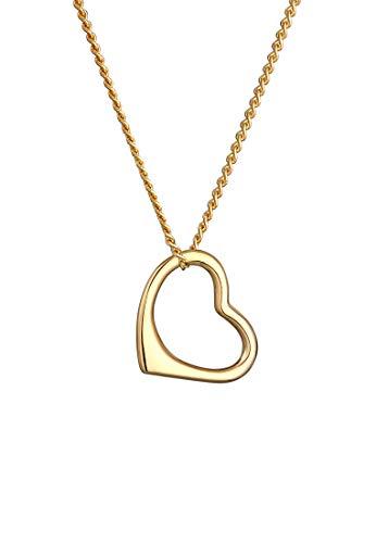 Elli PREMIUM Halskette Damen mit Anhänger Herz Liebe Klassisch Hochwertig in 585 Gelbgold