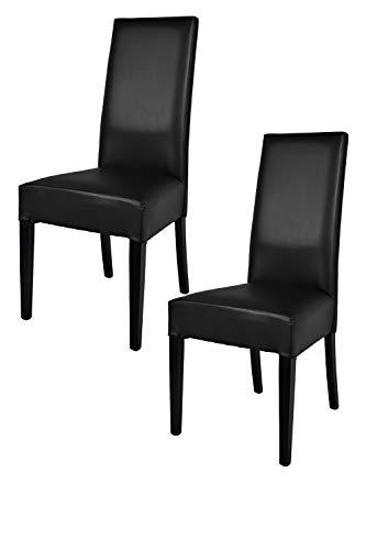 Tommychairs - Set 2 sillas Luisa para Cocina, Comedor, Bar y Restaurante, solida Estructura en Madera de Haya y Asiento tapizado en Polipiel Negro