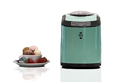Royal Brew Ice Cream Maker 1.5 Quart Upright Stainless Steel Frozen Yogurt, Sorbet and Gelato Machine with Built-In Compressor (Mint Green)