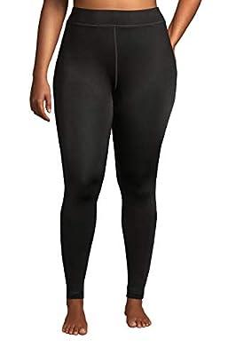 Lands' End Womens Thermaskin Heat Long Underwear Pants Black Plus 2X