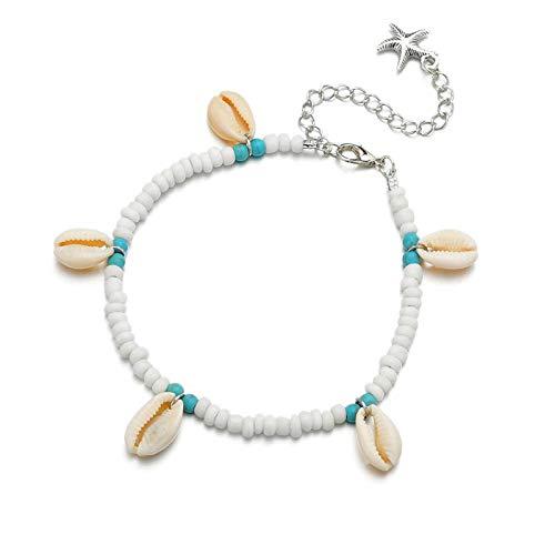 Colgante de cuentas bohemias con conchas tobillera anillos de boda femeninos sandalias...
