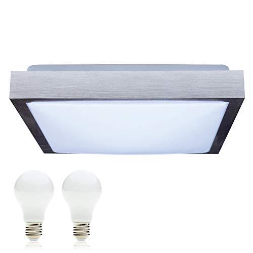 SAVONY IP20 (inkl. 2x LED Leuchtmittel E27 2x 13W) - (2210lm) - Decken Wandleuchte Deckenlampe Wandlampe für LED & ESL (Quadratisch 410x410)