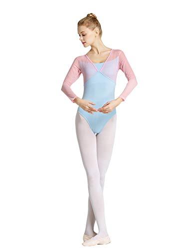 Tookang Damski strój do tańca, bez rękawów, siateczka, do tańca baletowego, bawełniany trykot