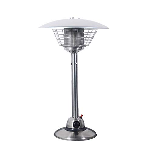 AJH Outdoor Patio Heater Tabletop Patio Heater Waterproof Heavy Portable Indoor Outdoor Fire Pits Propane Or Butane Gas Bottle for Gazebo Garden Camping Stainless Steel