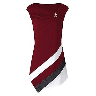 RAINED-Women's Tunic Tank Tops Summer Irregular Hem Shirts Sleeveless Tunic Tanks Front Button Patchwork Sweatshirts