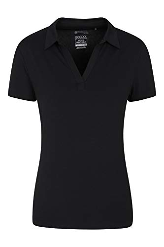 Mountain Warehouse Polo Anti-UV pour Femme - T-Shirt Anti-UV - Haut à col V - Tee-Shirt léger - Idéal pour l'été, la Course, la randonnée et Le Plein air Noir 38