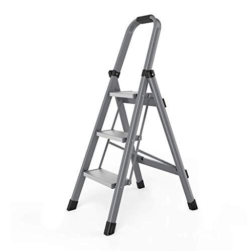 DY - Taburete plegable con escalera de aluminio móvil con mango, para uso en casa y oficina, escalera para uso en interiores y exteriores
