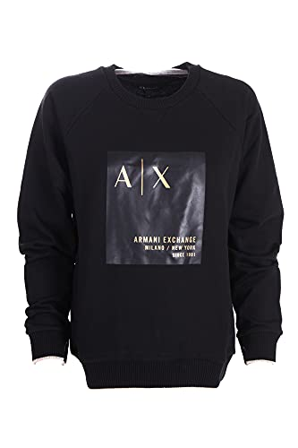 Armani Exchange Crewneck, Raglan Cut, Regular fit, Macro Print, Gold Color Logo, Cuffs and Bottom with Outline in Contrast Sudadera, Negro, XL para Mujer