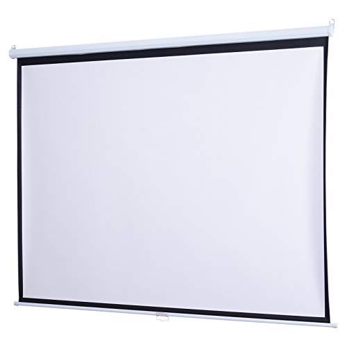 HOMCOM Schermo da Tavolo Professional Mini Screen 120 Pollici Formato 16:9/4:3 Schermo da Proiezione Compatto 251.8 × 8.6 × 7 cm Bianco e Nero