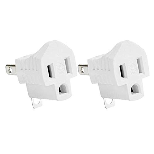 Yubi Power Grounding Adapter Plug - Grounded Outlet Adapter - 2 Prong to 3 Prong Adapter - 2 Pack