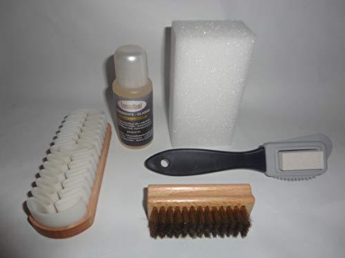 Lecobal Lederpflegeset (5-teilig) für Glattleder, Rauleder, Nubukleder, Wildleder - Lederreinigung Set - Lederpflege Set - Schuhpflege Set - Schuhputzset - Schuhpflegeset