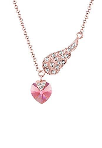 Elli Damen-Kette mit Anhänger Flügel Herz Liebe 925 Silber pink Rundschliff Kristall 45 cm - 0111951516_45