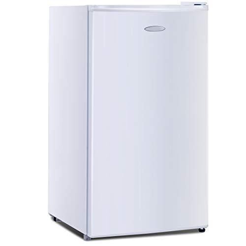 GOPLUS Kühlschrank mit Gefrierfach Vollraumkühlschrank Mini-Kühlschrank Kühl-Gefrier-Kombination Tischkühlschrank lautlos 91L, Farbewahl (Weiß)