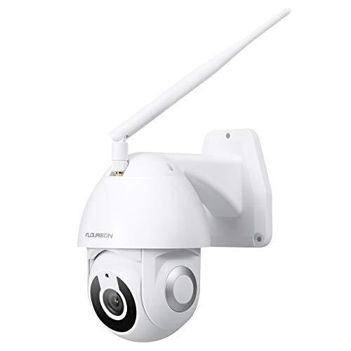 FLOUREON PTZ IOT Telecamera di Sorveglianza HD 1080P YI Telecamera IP Pan/Tilt Smart Tracking Alert Impermeabile IP66 Visione Notturna IR Bidirezionale Audio Cloud Storage all'aperto, con Alexa