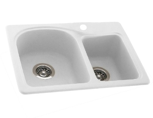 Swanstone KS02518DB.010 Solid Surface 1-Hole Dual Mount Double-Bowl Kitchen Sink, 25-in L X 18-in H X 7.5-in H, White