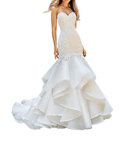 SongsurpriseMall Hochzeitskleider Chiffon Damen Perlen V Ausschnitt Schlüsselloch große Größen Brautkleider Elfenbein EU38