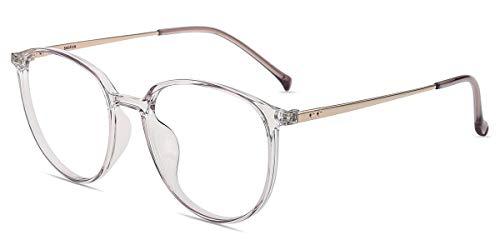 Firmoo Blaulichtfilter Brille Damen Rund, Entspiegelte Anti Blaulicht Brille ohne Sehstärke für Herren, UV400 Blaulicht Schutzbrille für Bildschirme gegen Kopfschmerzen, Transparent-Lila Brille